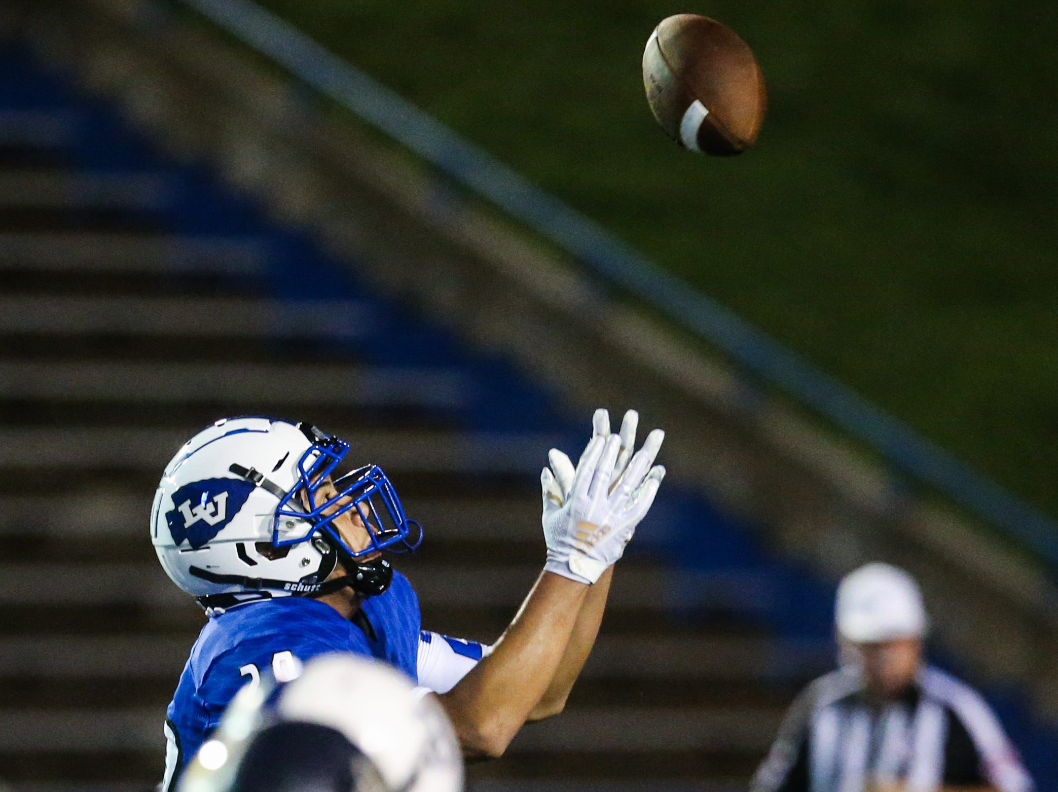 Lake View's Sonny Moreno catches a pass against Fabens Friday, Sept. 7, 2018, at San Angelo Stadium.