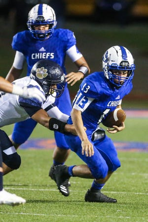 Lake View's Rudy Martinez runs the ball against Fabens Friday, Sept. 7, 2018, at San Angelo Stadium.