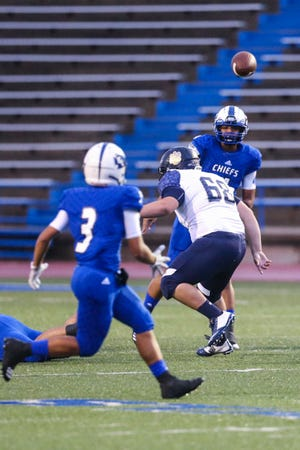 Lake View's Kendall Blue passes the ball to Matthew Chappa during the game against Fabens Friday, Sept. 7, 2018, at San Angelo Stadium.