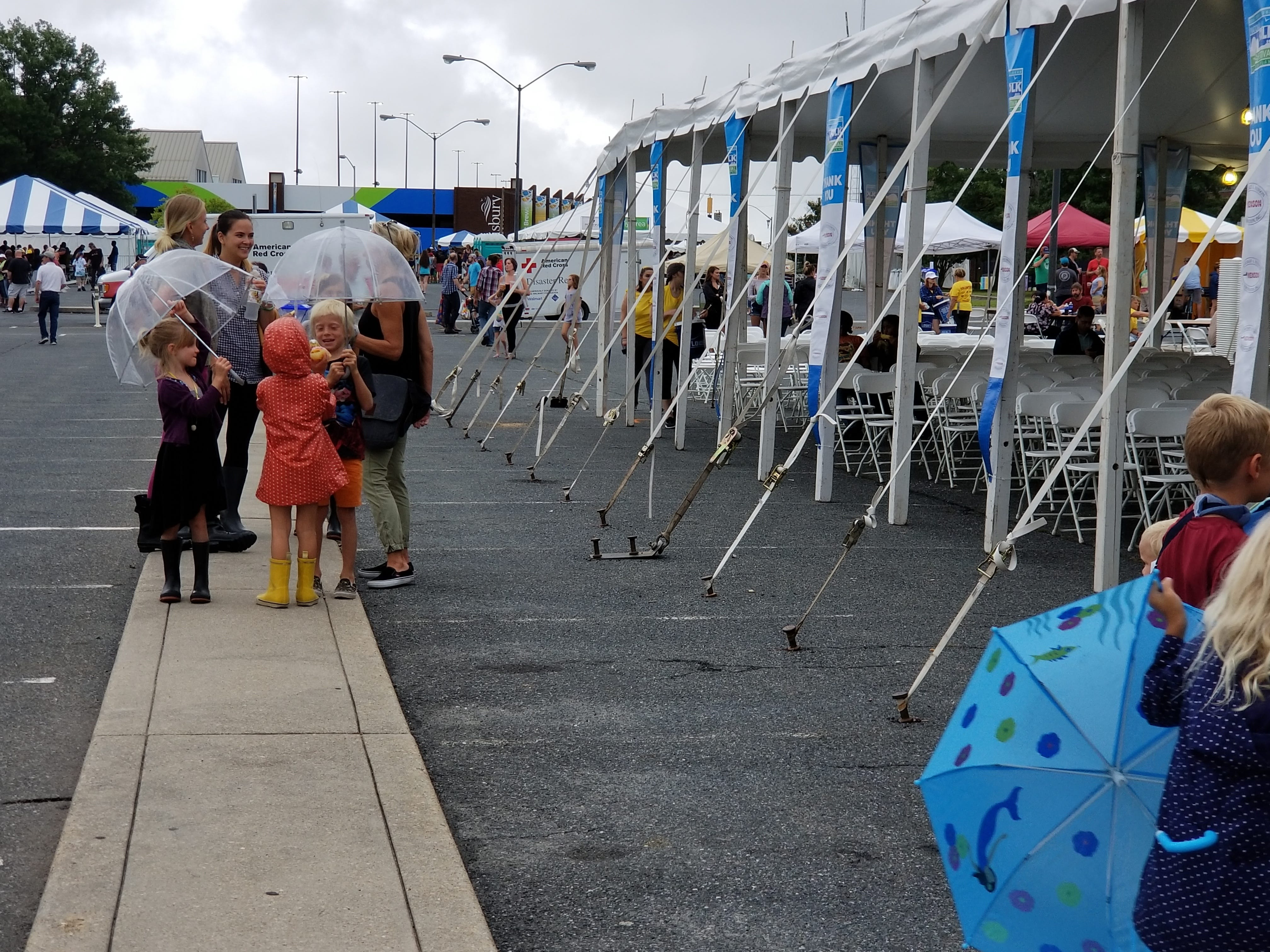 Visitors to the National Folk Festival in Salisbury, Maryland come prepared with umbrellas on Saturday, Sept. 8, 2018.