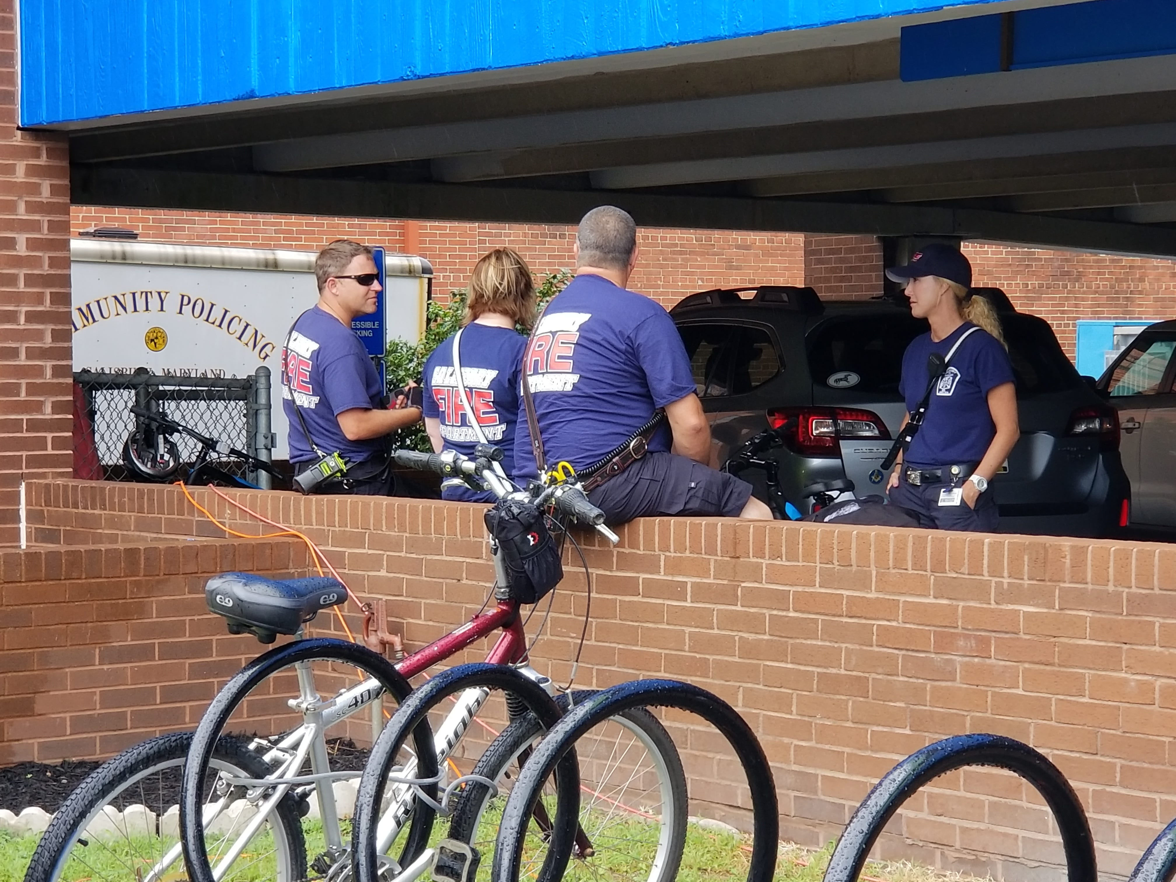 First responders take a break from helping at the National Folk Festival in Salisbury, Maryland on Sept. 8, 2018.