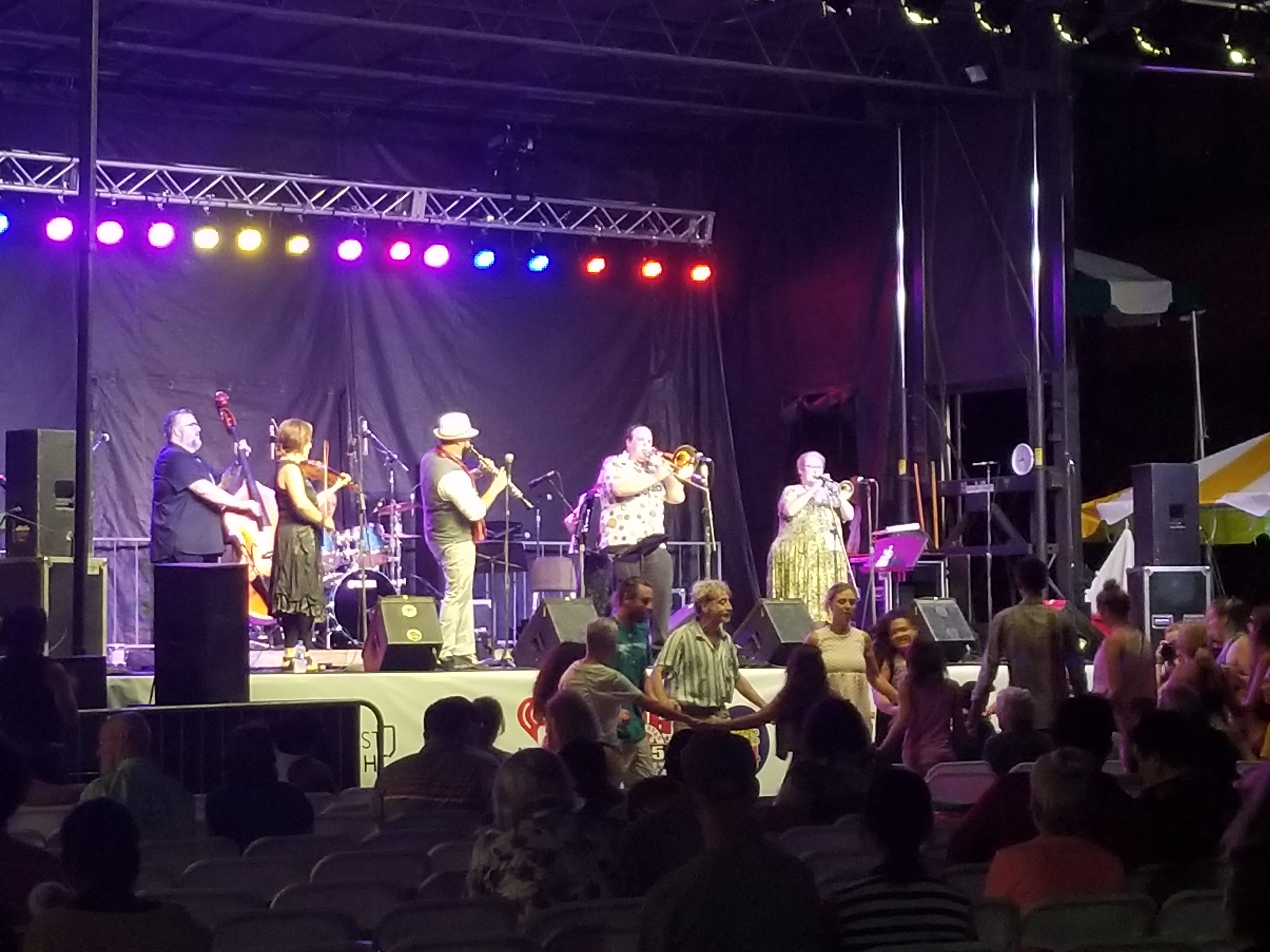 Michael Winograd & the Honorable Mentshn perform at the National Folk Festival in Salisbury, Maryland on Friday, Sept. 7, 2018.
