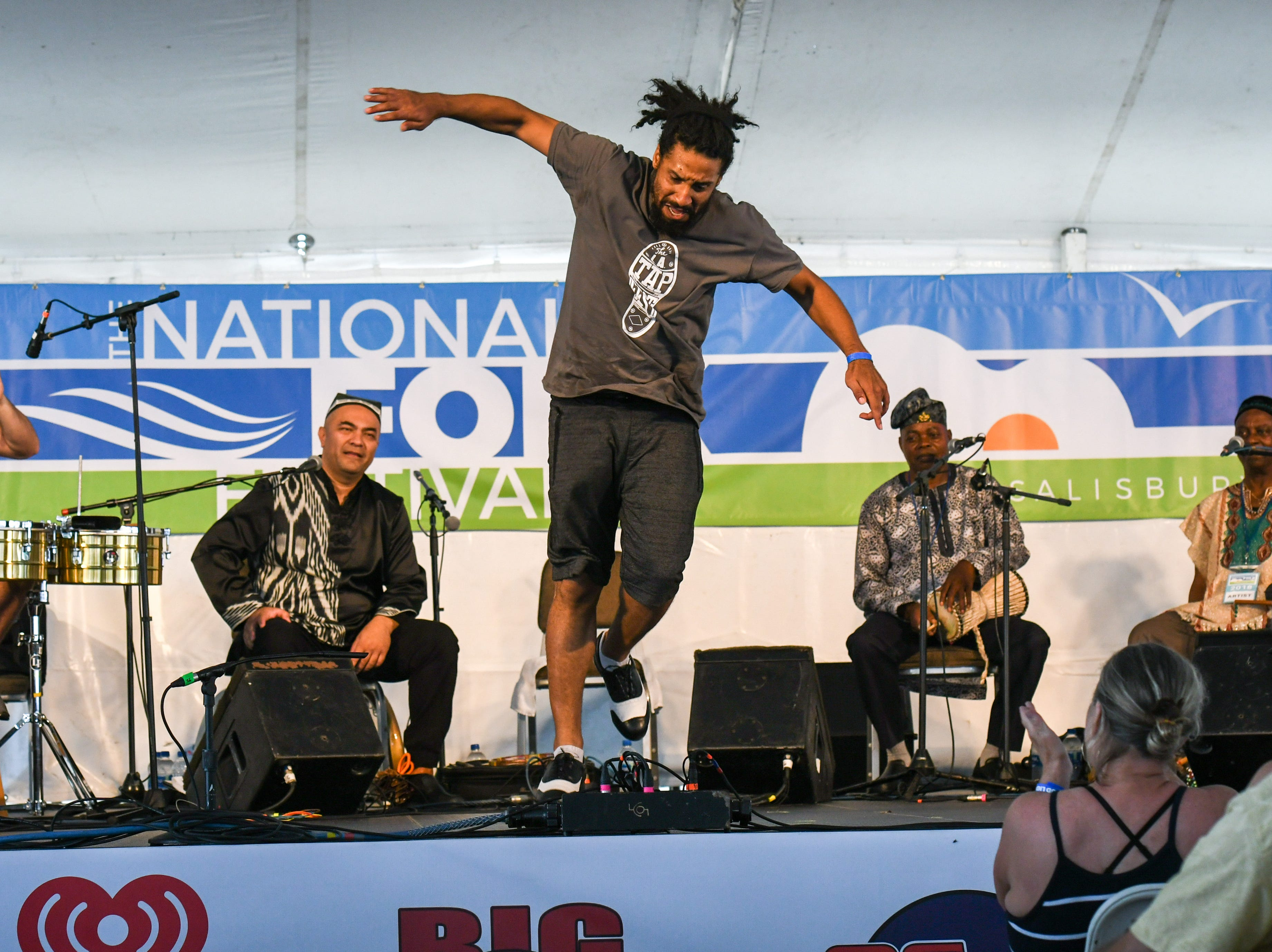 Jason Samuels Smith performs at the National Folk Festival in Salisbury on Saturday, Sept. 8.