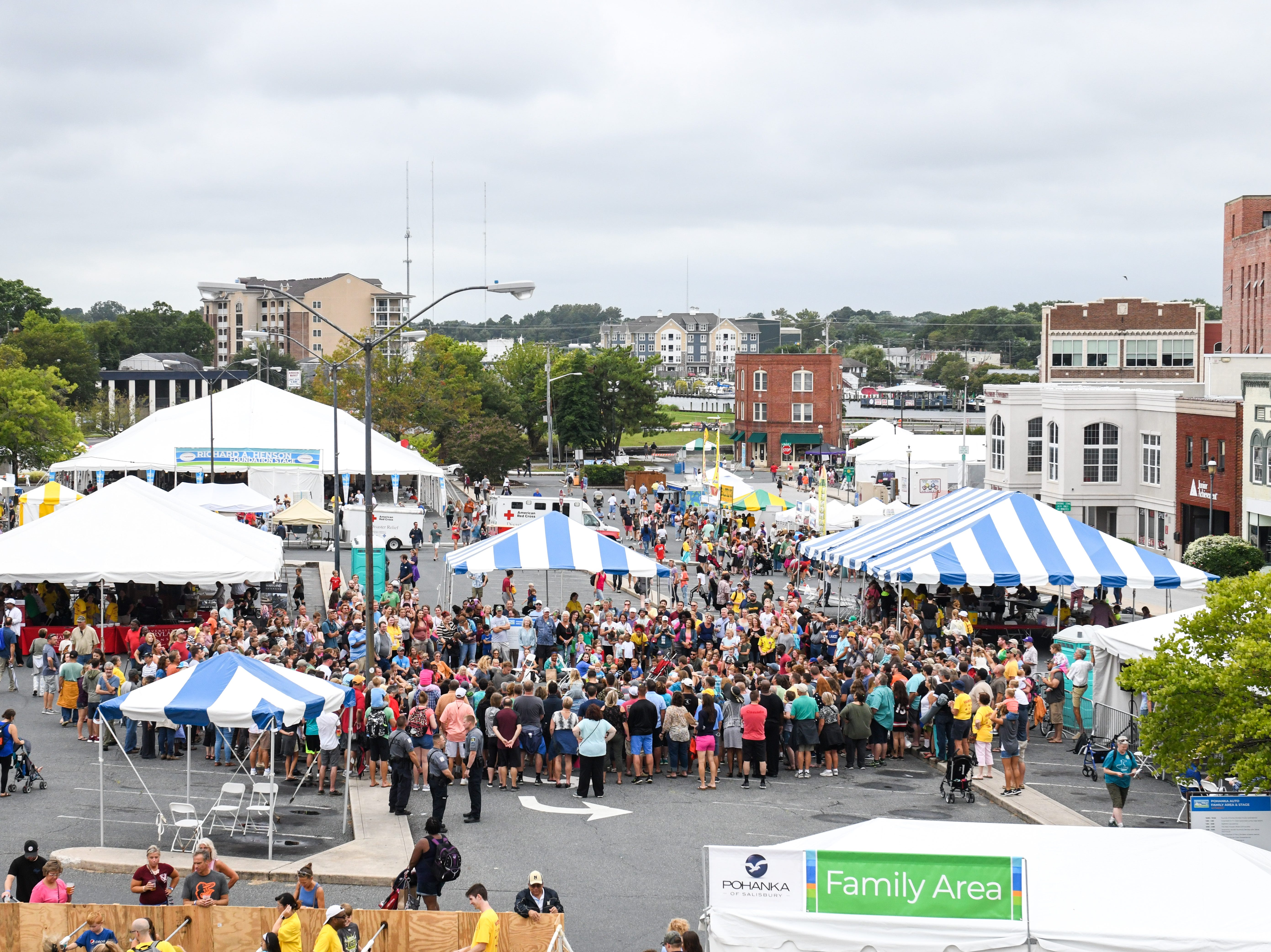 A crowd gathers to watch the Dancing on Air breakdancing group at the National Folk Festival in Salisbury on Saturday, Sept. 8.
