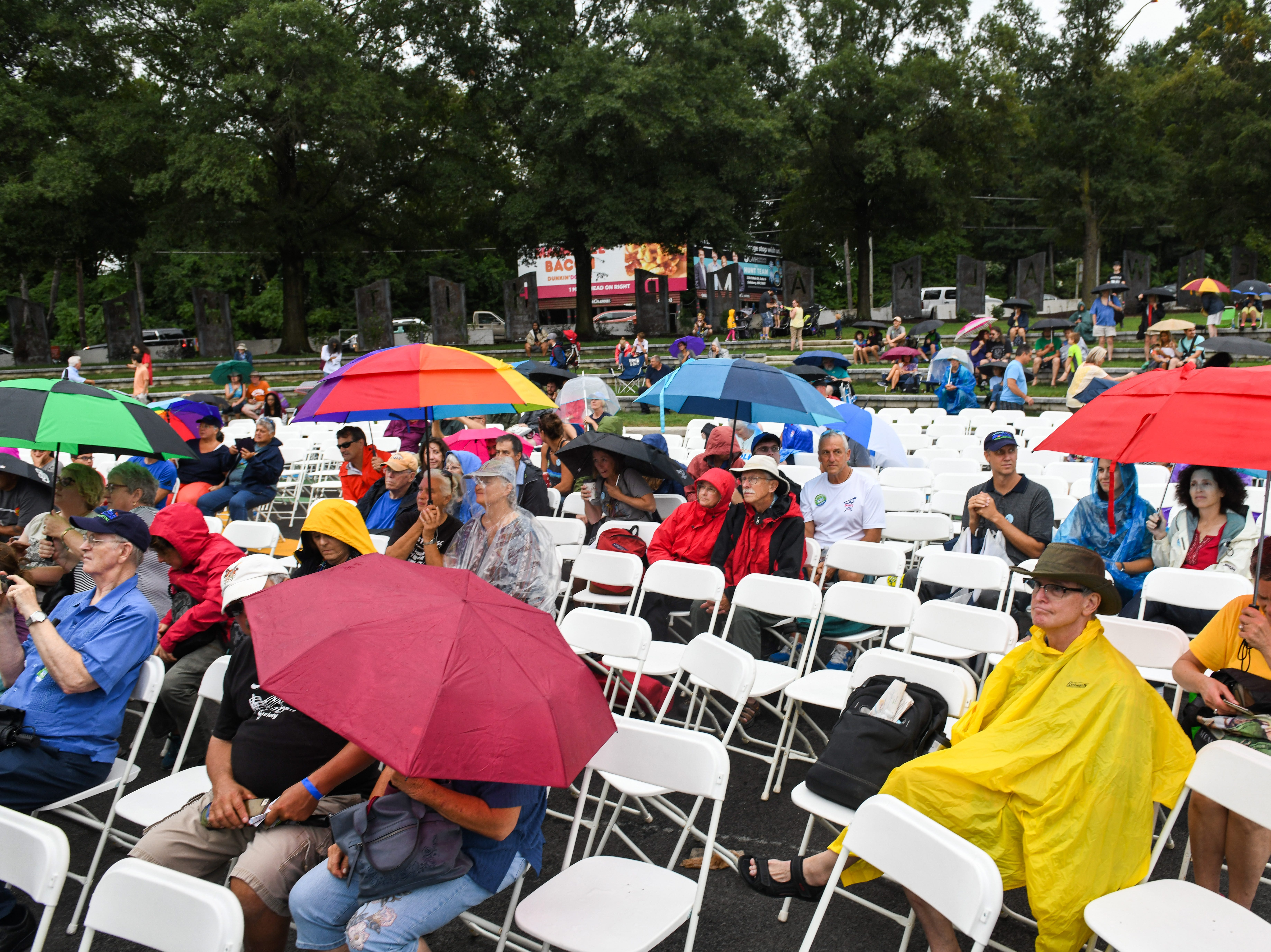 A crowd gathers to watch the Chankas of Peru group at the National Folk Festival in Salisbury on Saturday, Sept. 8.
