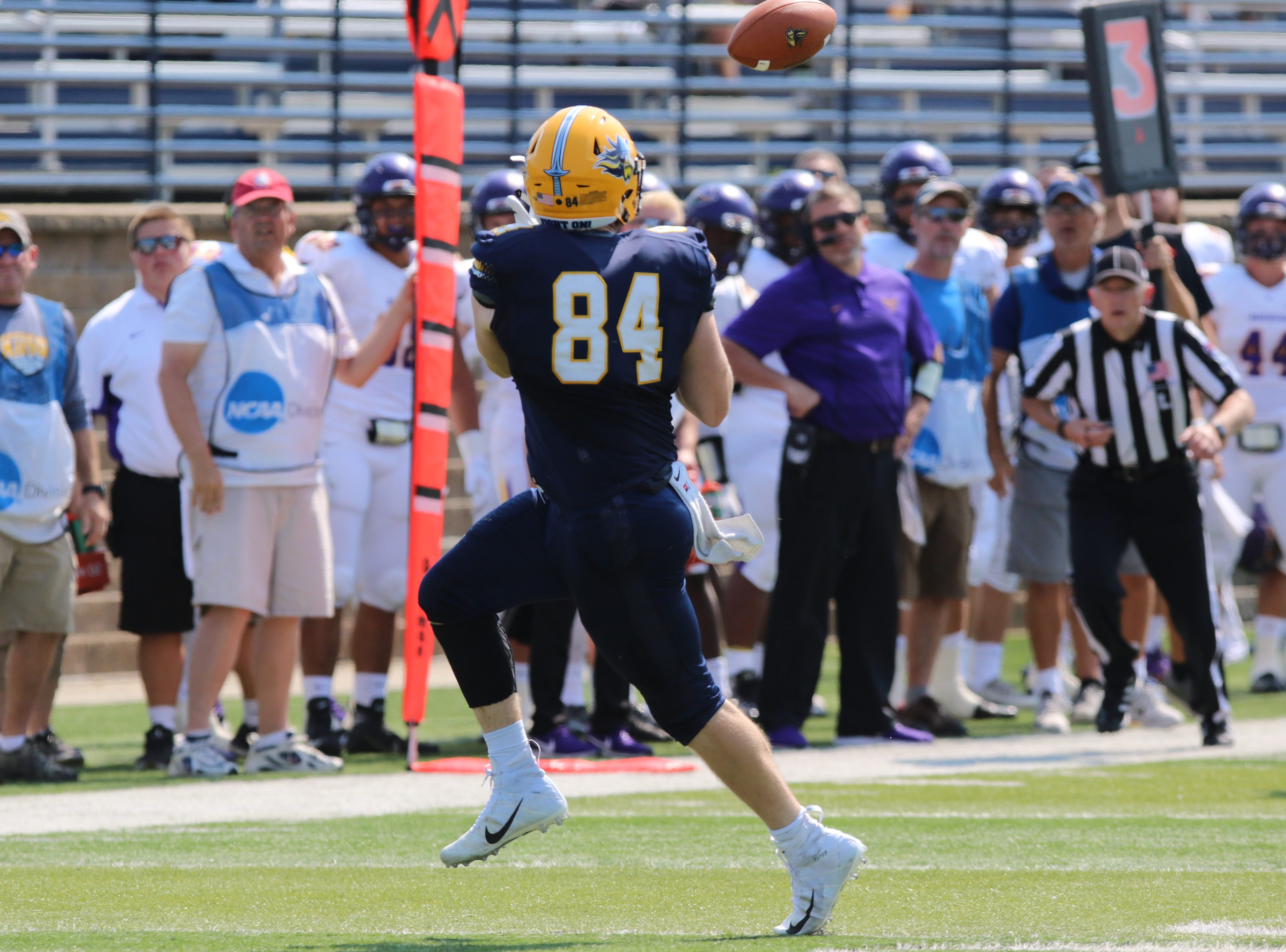 Augustana's Sr tight end #84 Chet Peerenboom catches a pass from quarterback Kyle Saddler during their game against Minnesota State-Mankato. Minnesota State won 38-36.
