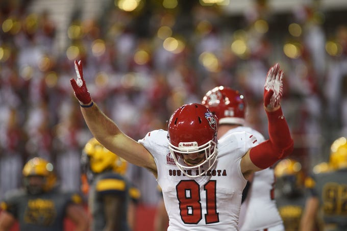 USD's Brett Samson celebrates in the end zone during the game against Northern Colorado Saturday, Sept 8, at the DakotaDome in Vermillion.