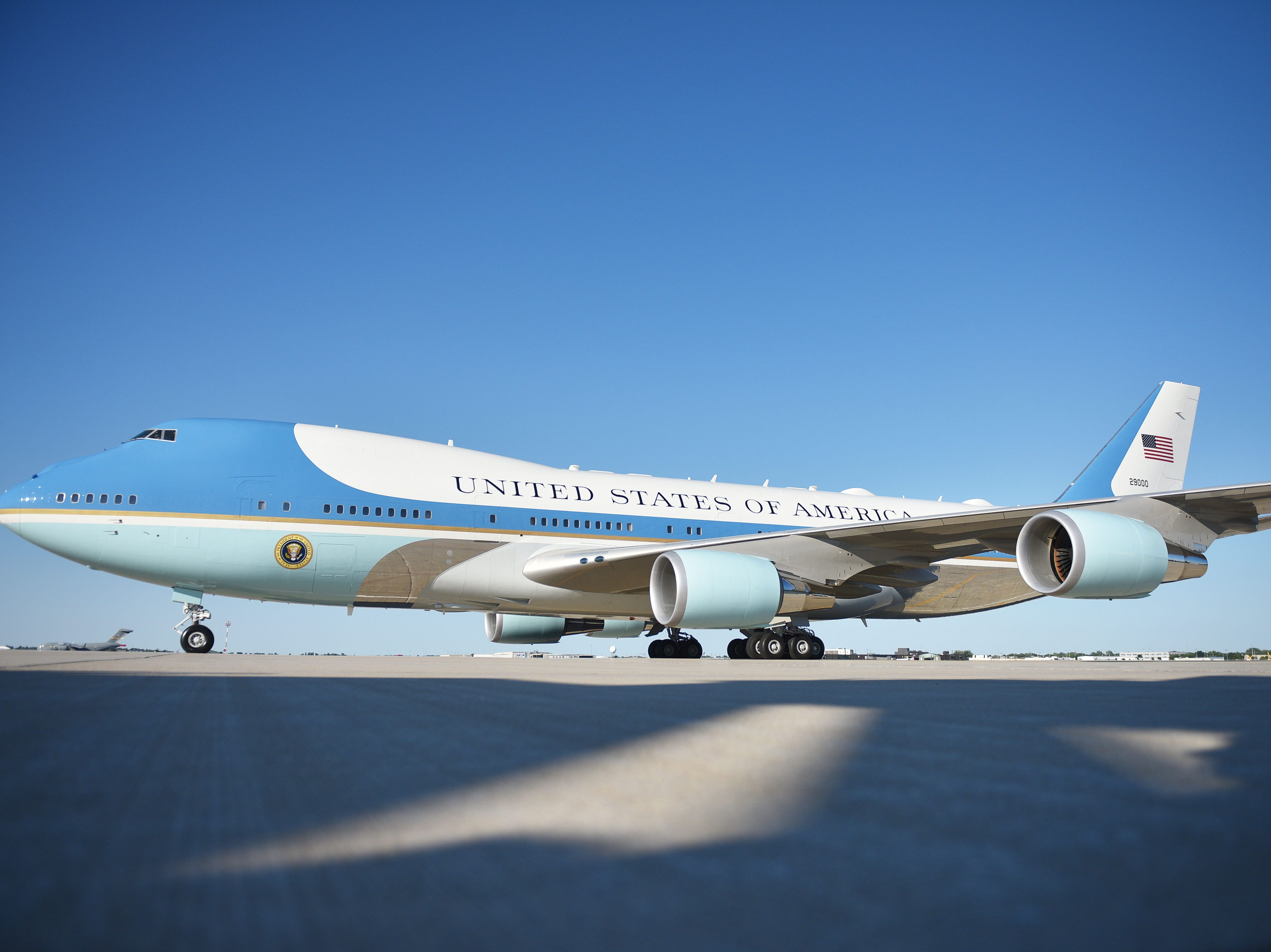 Air Force One prepares to take off Friday, Sept. 7, at the South Dakota Air National Guard in Sioux Falls.
