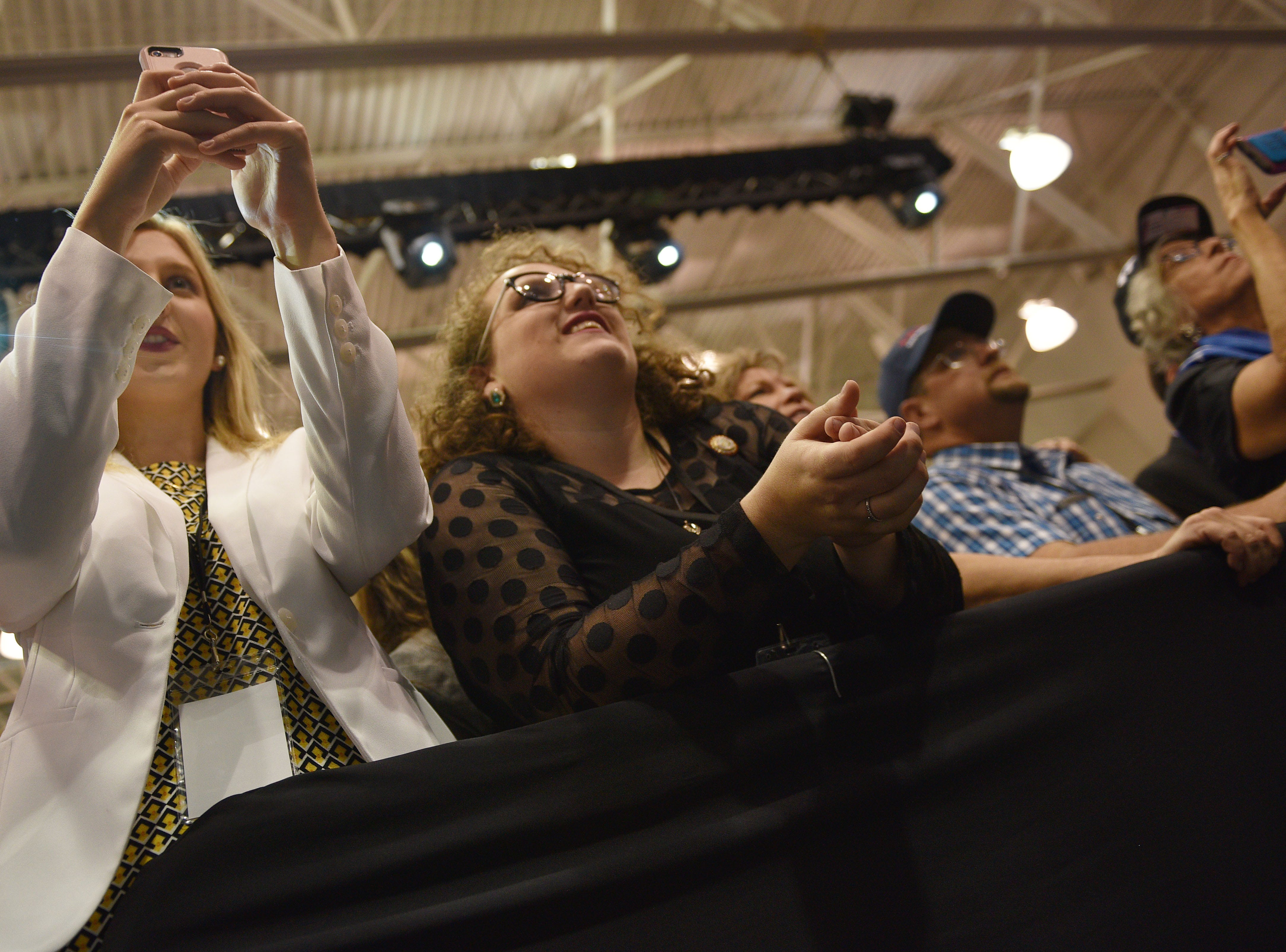 Supporters cheer once President Donald Trump takes the stage Friday, Sept. 7, at the Denny Sanford Premier Center in Sioux Falls.