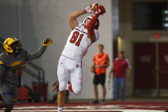 USD's Brett Samson catches the ball in the end zone during the game against Northern Colorado Saturday, Sept 8, at the DakotaDome in Vermillion.