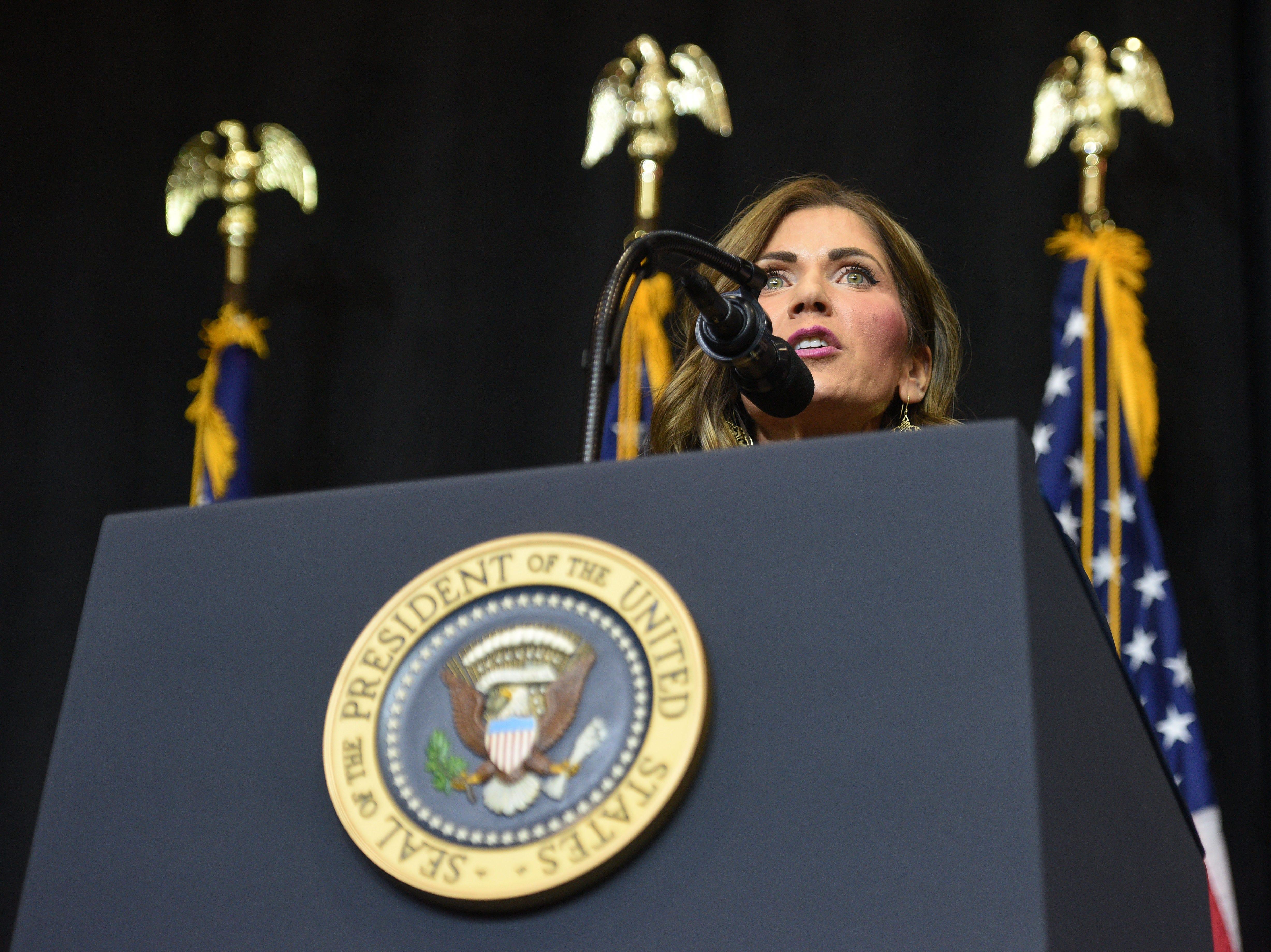 U.S. Representative Kristi Noem introduces President Donald Trump Friday, Sept. 7, at the Denny Sanford Premier Center in Sioux Falls.