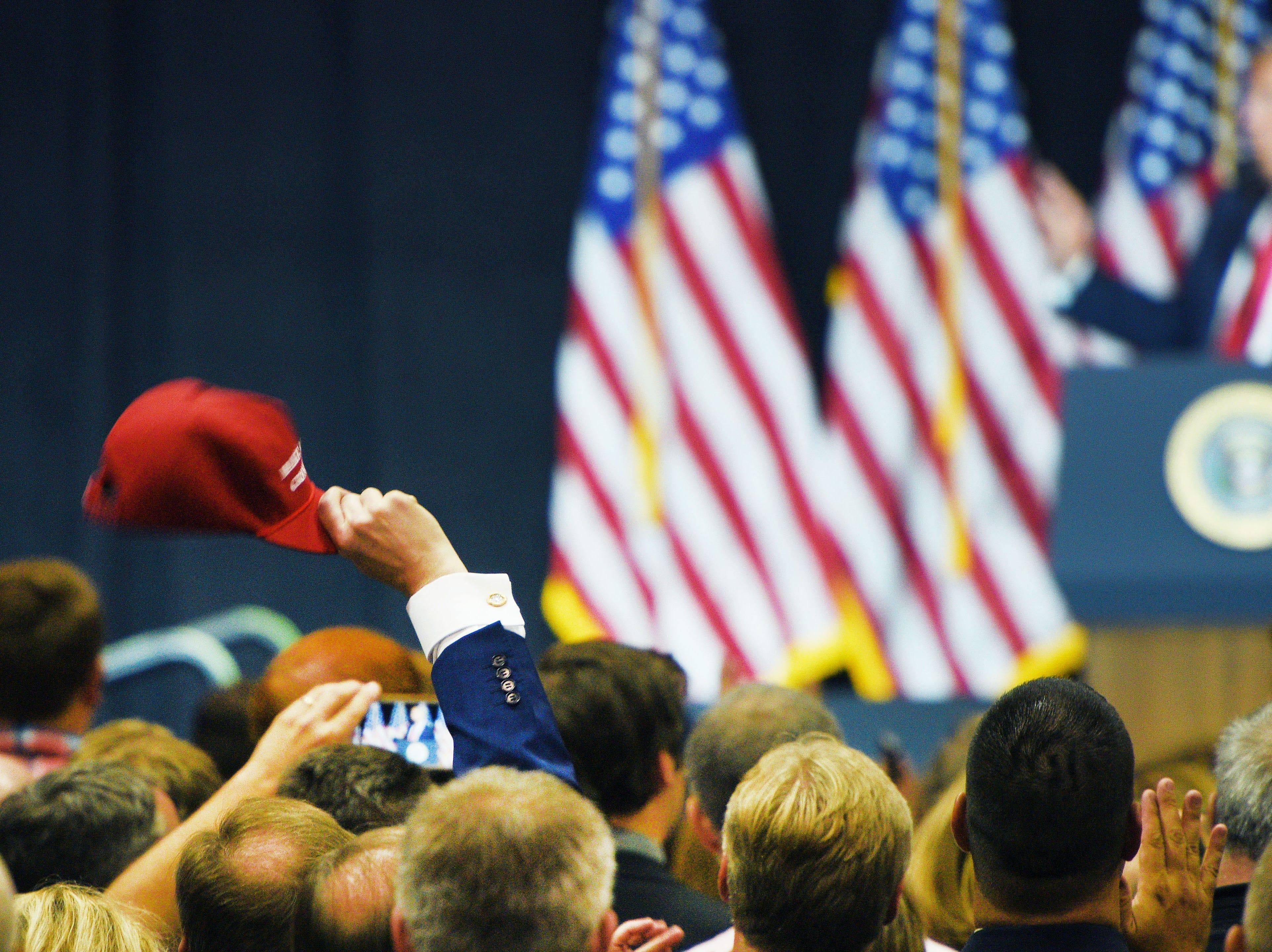 President Donald Trump speaks Friday, Sept. 7, at the Denny Sanford Premier Center in Sioux Falls.