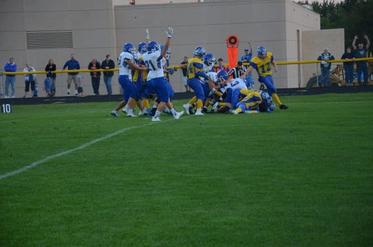 Parker Nelson scores from 17 yards out for Sioux Falls Christian on Friday, Sept. 7 at Canton.