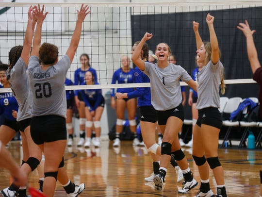 The College of the Ozarks Bobcats celebrate winning a point against the Williams Baptist Eagles during the 2018 Evangel Classic at The Courts in Springfield, MO., on Saturday, Sep. 8, 2018.