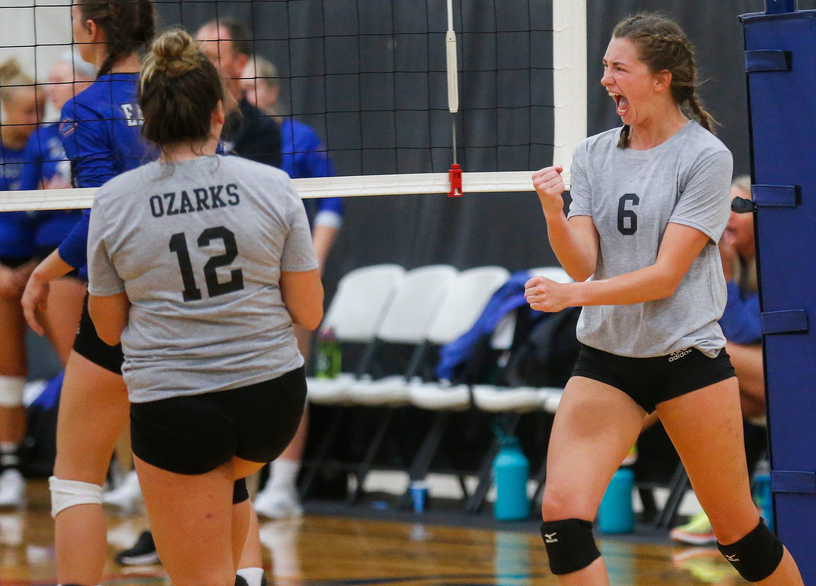 Kayli Grant (6), of the College of the Ozarks Bobcats, celebrates winning a point against the Williams Baptist Eagles during the 2018 Evangel Classic at The Courts in Springfield, MO., on Saturday, Sep. 8, 2018.