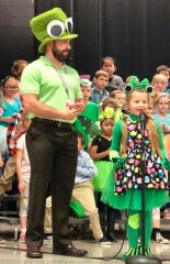 Nick Hostler, a special education teacher at McBride Elementary, in a first-grade play. He went to practice every day so he was given a speaking part.