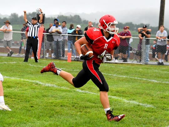 Riverheads' Blake Smith makes it into the end zone for a touchdown during a football game played in Greenville on Friday, Sept. 7, 2018.