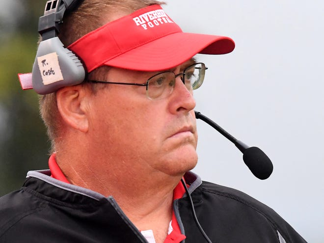 Riverheads' head coach, Robert Casto, watches the action on the field from his place on the sidelines during a football game played in Greenville on Friday, Sept. 7, 2018.