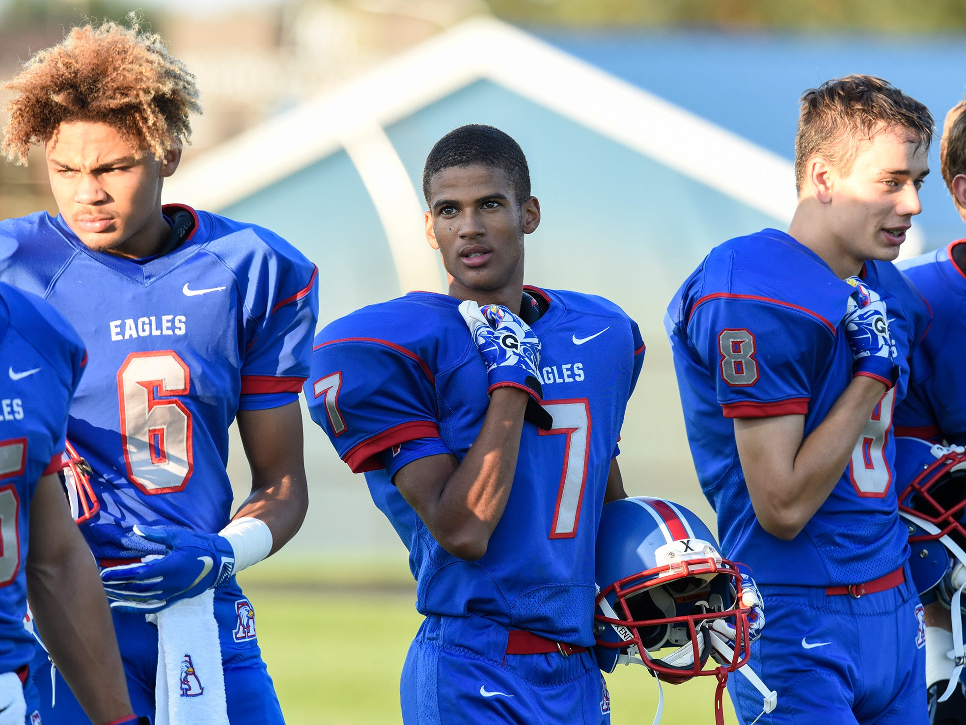 Apollo players line up before the start of the Friday, Sept. 7, game against Apollo at Apollo High School in St. Cloud.