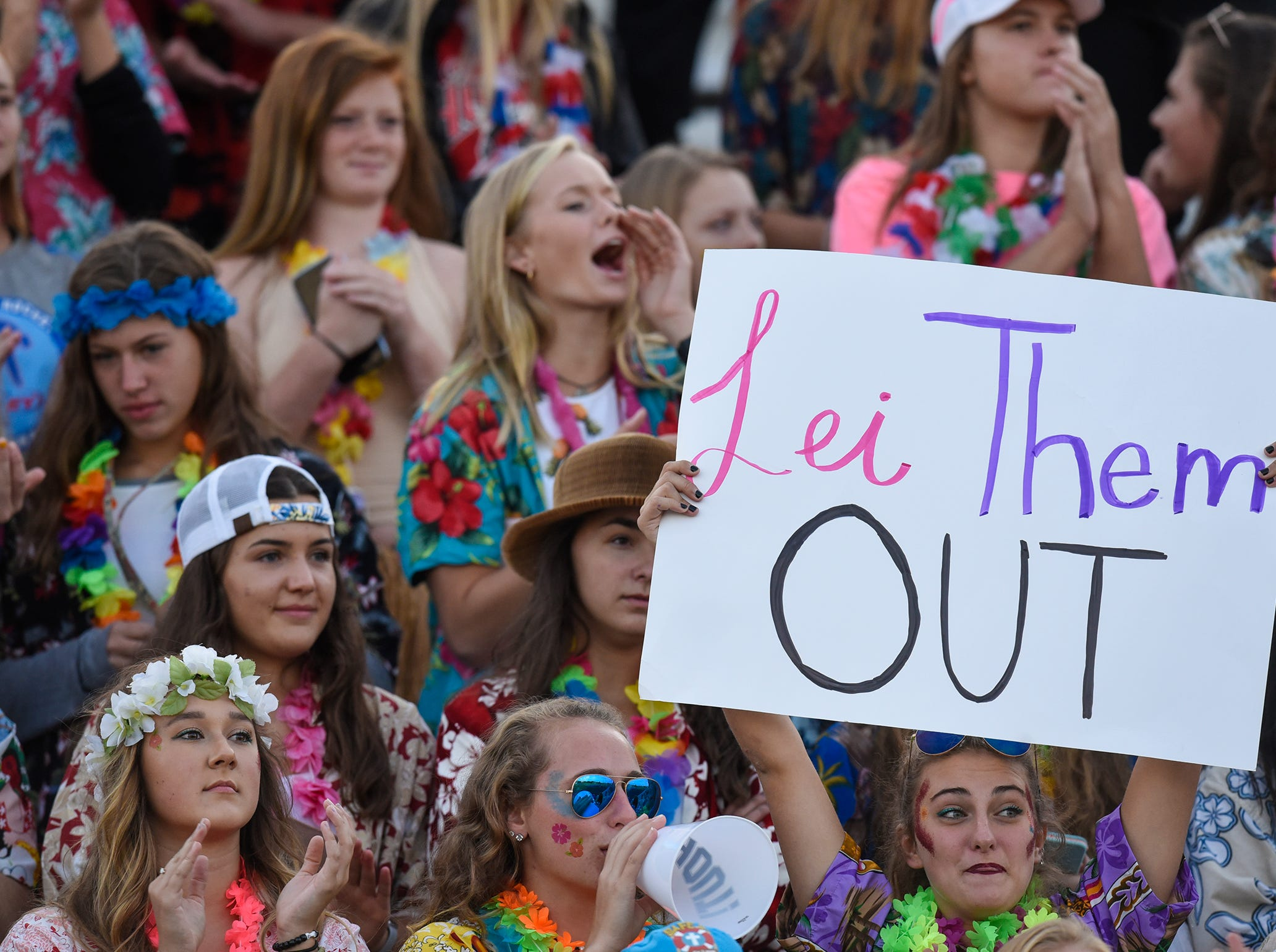 Fans in the ROCORI students section are dressed in a Hawaiian theme during the Friday, Sept. 7, game at Apollo High School in St. Cloud.