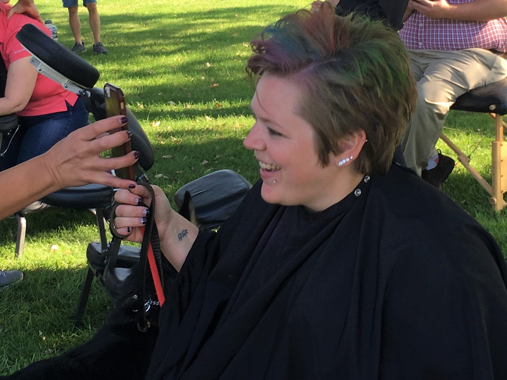 Mantra Salon and Spa, teased, colored and styled hair, '80s style Saturday, Sept. 8 at Bark to the Future.  The 30th annual Tri-County Humane Society Companion Walk celebrated the decade the shelter was born — the 1980s — while raising money for the nonprofit at Wilson Park in St. Cloud.