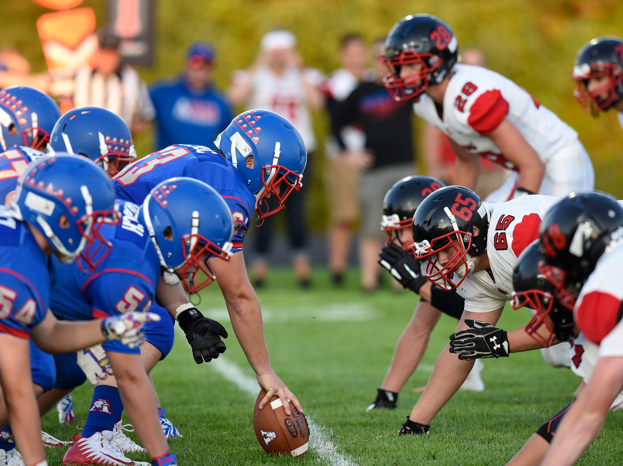Apollo and ROCORI players face off during the Friday, Sept. 7, game at Apollo High School in St. Cloud.