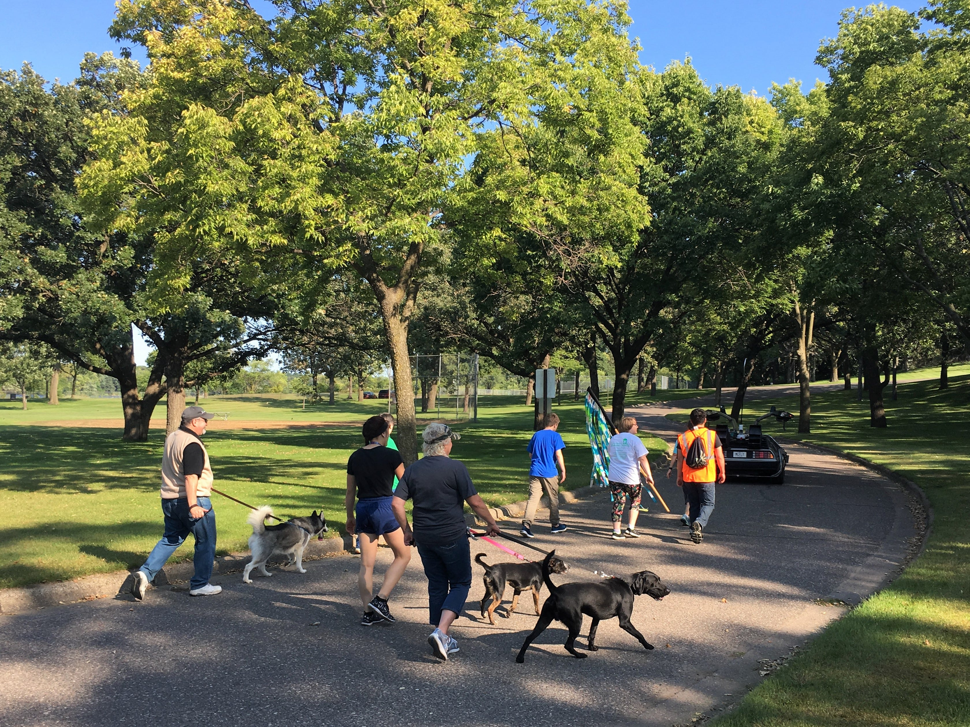 """A bonafide DeLorean led off the the 30th annual Tri-County Humane Society Companion Walk Saturday, Sept. 8. Bark to the Future — a nod to '80s classic """"Back to the Future —  celebrated the decade the shelter was born while raising money for the nonprofit at Wilson Park in St. Cloud."""