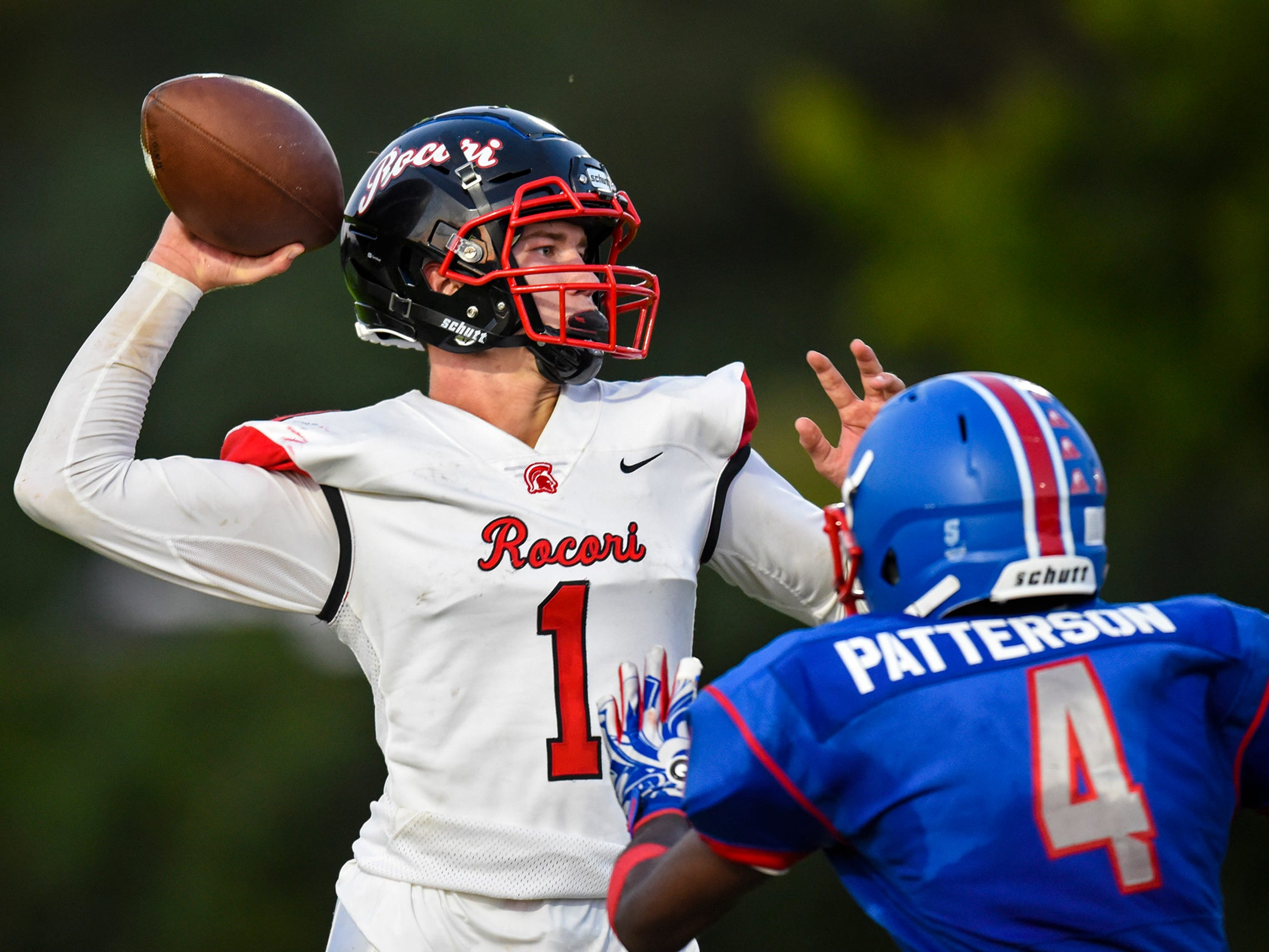 ROCORI's Jack Steil throws a pass during the Friday, Sept. 7, game at Apollo High School in St. Cloud.