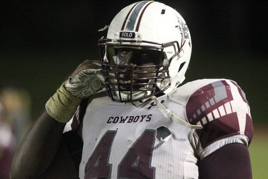 Madison County defensive tackle Terray Jones prepares for a play during a game against Florida High this year.