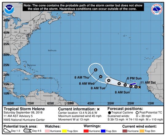 A graphic from the National Hurricane Center shows the position and forecast track of Tropical Storm Helene as of 11 a.m., Saturday, September 8.