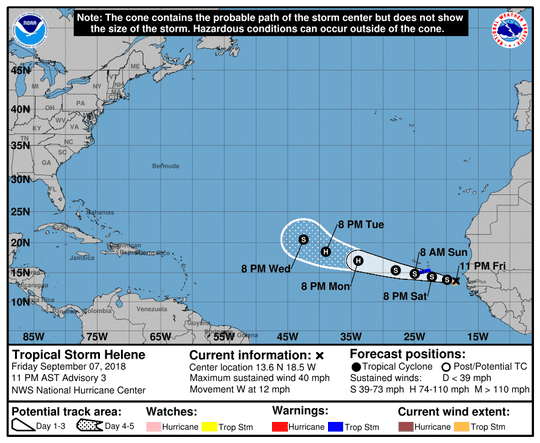 Projected path of Tropical Storm Helene as of 11 p.m. Friday, Sept. 7, 2018.