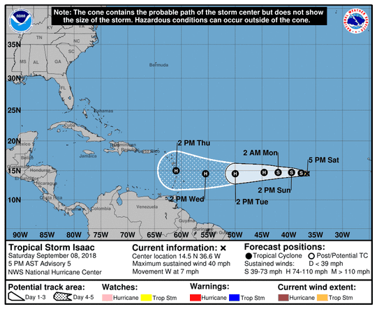 A graphic from the National Hurricane Center shows the position and forecast track of Tropical Storm Isaac as of 5 p.m., Saturday, September 8.