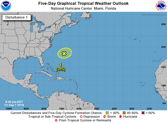 A tropical wave in the western Atlantic is not expected to develop over the next few days.