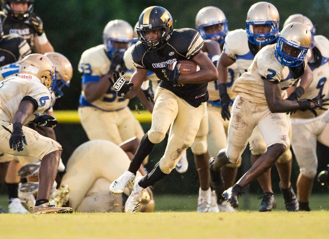 Treasure Coast High School has scored an area-best 248 points this season, breaking the school record set in 2007, and looks like a sure bet to hit 300— and perhaps a lot more. This photo was taken during the Titans' game against Mainland (Daytona Beach) on Sept. 7, 2018.