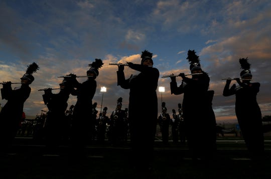 The Montwood High School marching band performs in El Paso, Texas.