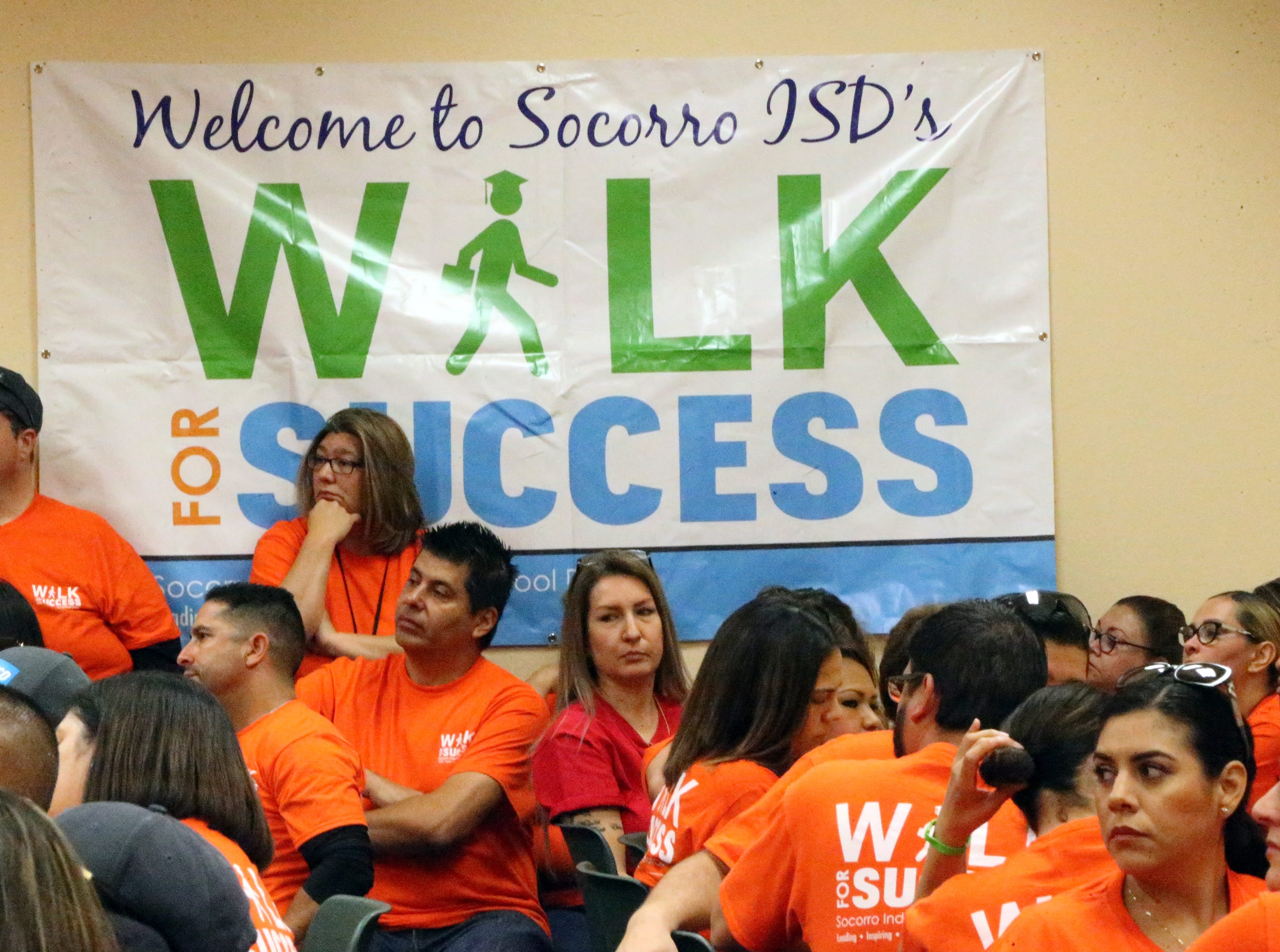 Socorro school district employees gather at district's service center at the start of the 5th Annual Walk For Success outreach effort Saturday.