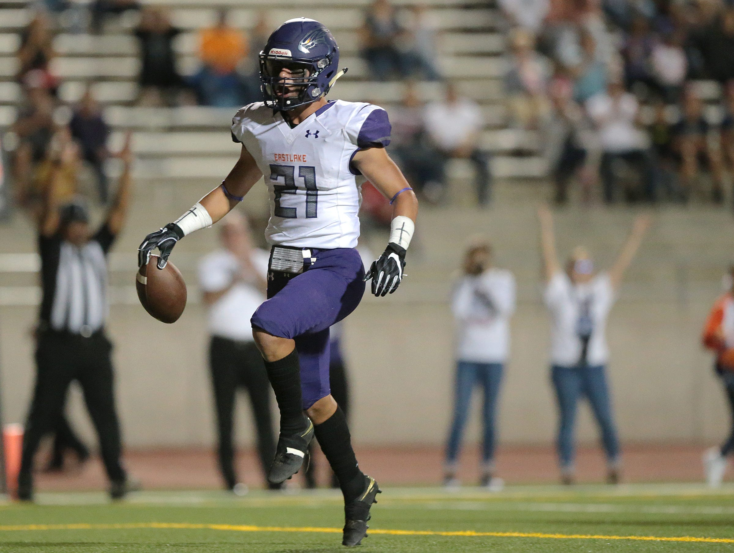 Eastlake wide receiver Keith Rodriguez finds paydirt against Montwood Friday at the SAC.