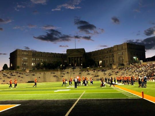 Picturesque El Paso High and historic R.R. Jones Stadium.