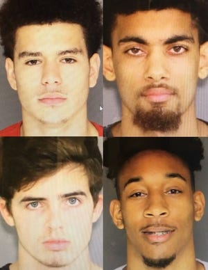 Shown clockwise from upper left are Jelani Bell, 20, of Oxnard; Alonzo Gude, 21, of Ventura; and Marques Russell, 21, of Oxnard; and Elliot Couillard, 19, of Ventura.