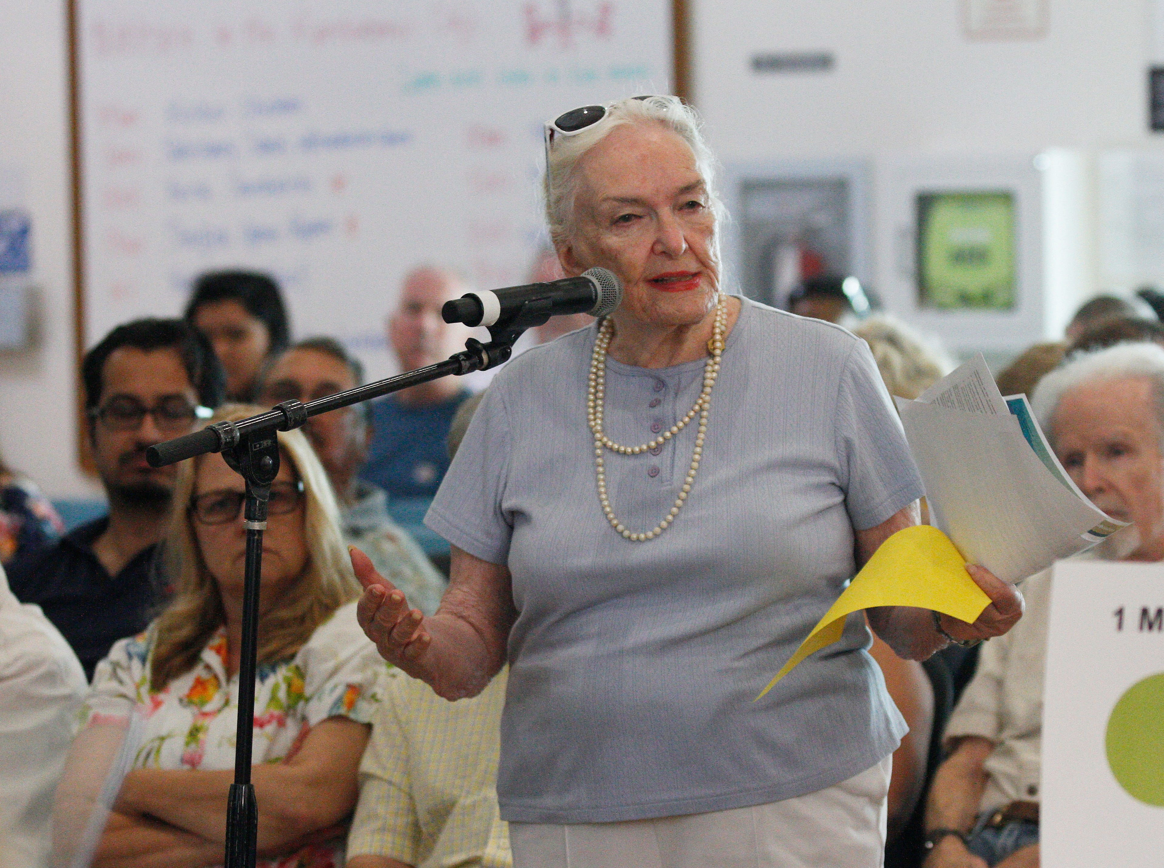 Arline Mathews blames the toxic environmental effects from the Santa Susana Field Lab site on her son's cancer while speaking during a public hearing at the Simi Valley Senior Center.