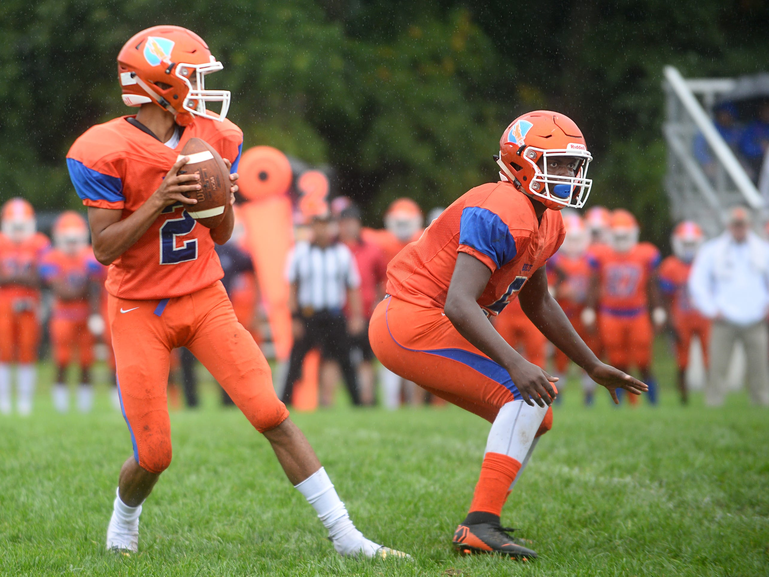 Millville QB, Eddie Jamison (2) checks down the field during a game against St. Joseph. The visiting Thunderbolts lost the outing to the Wildcats in Hammonton on Saturday, September 8.