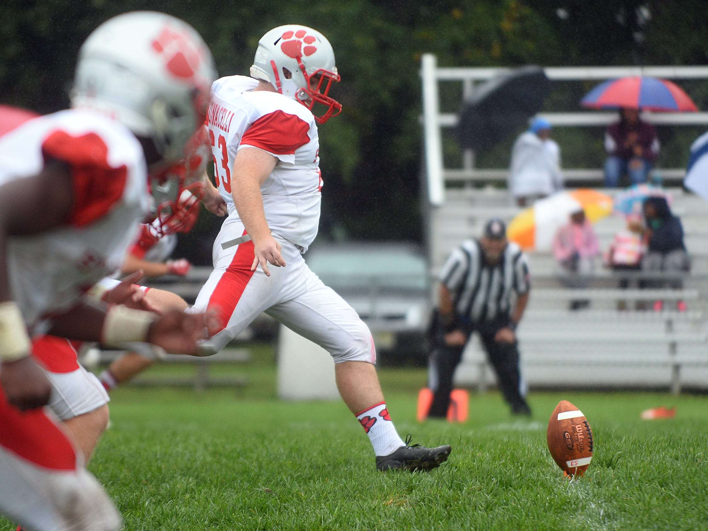 St. Joeseph kicker, Adam Monacelli (63) boots the pigskin during a game against Millville. The Wildcats rolled past the Thunderbolts 34-6 in Hammonton on Saturday, September 8.
