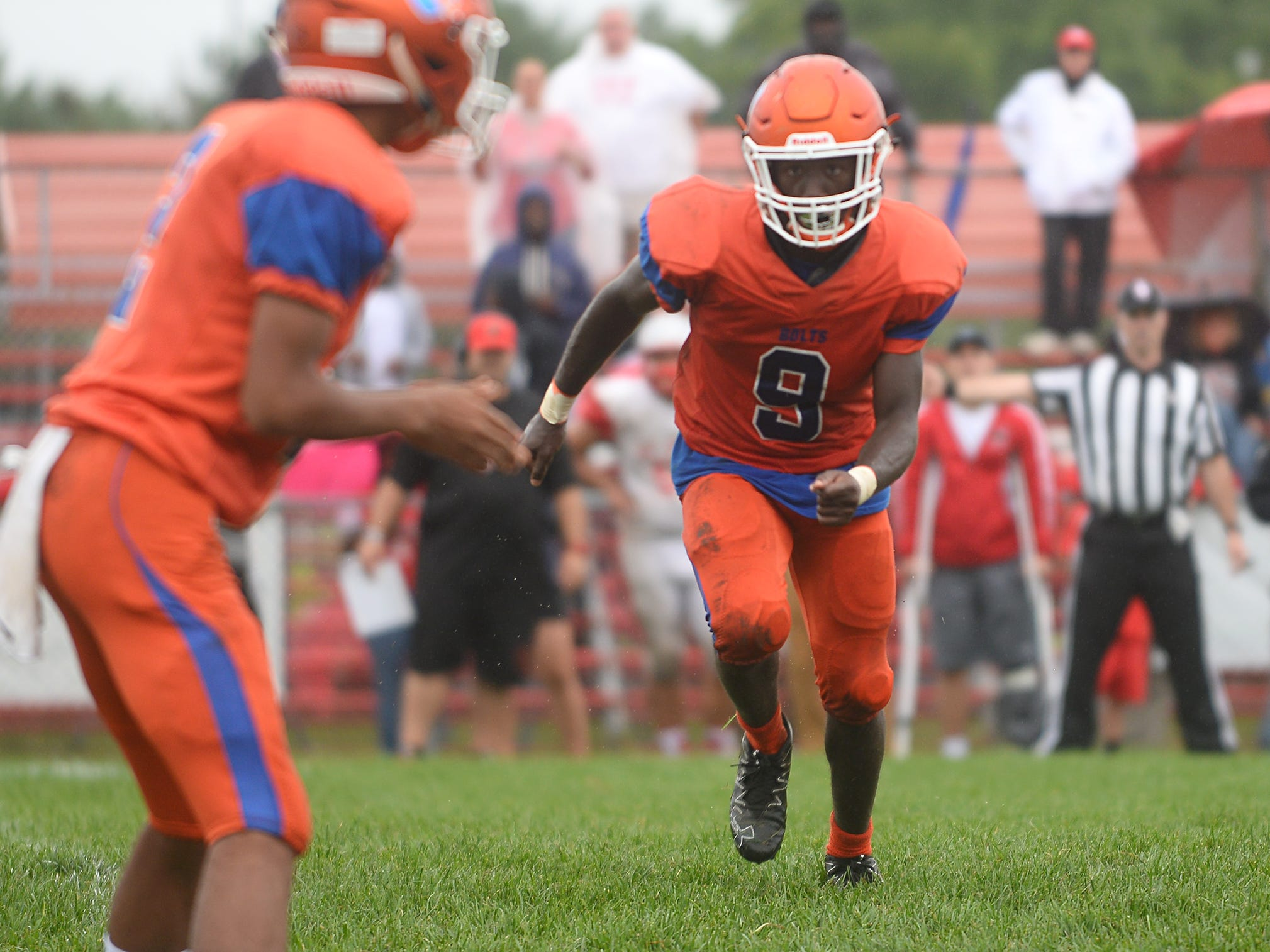 Millville WR, Kyle Yancey (9) lines up during a play against St. Joseph. The visiting Thunderbolts lost the outing to the Wildcats in Hammonton on Saturday, September 8.
