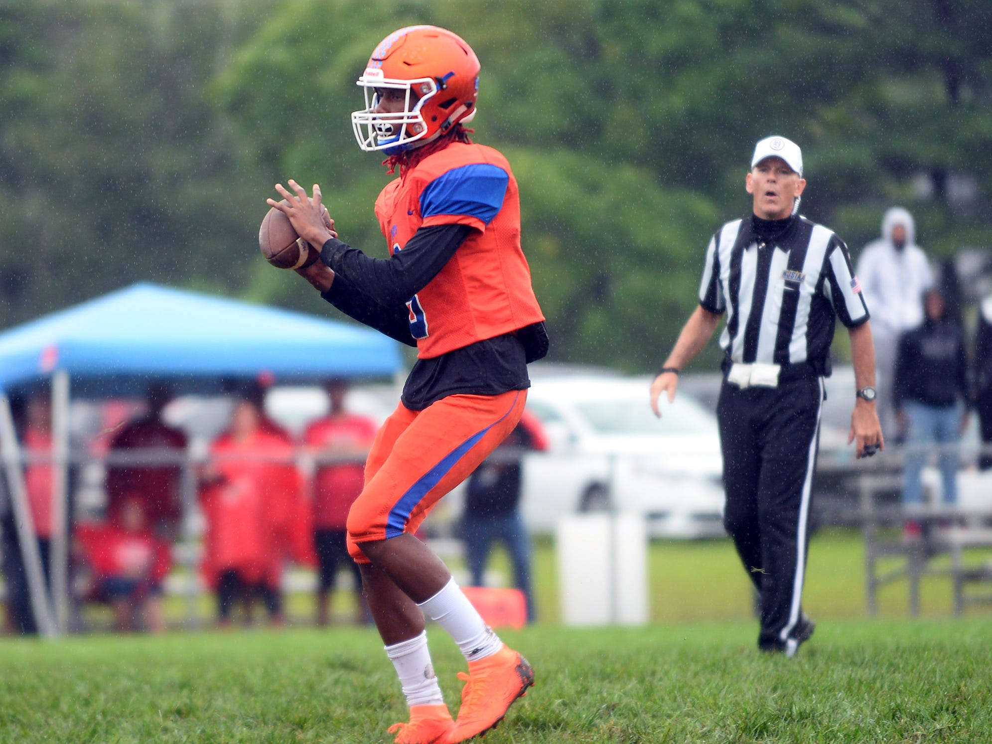 Millville QB, Maurice Smith (8) checks down field for a open receiver during a game against St. Joseph. The visiting Thunderbolts lost the outing to the Wildcats in Hammonton on Saturday, September 8.