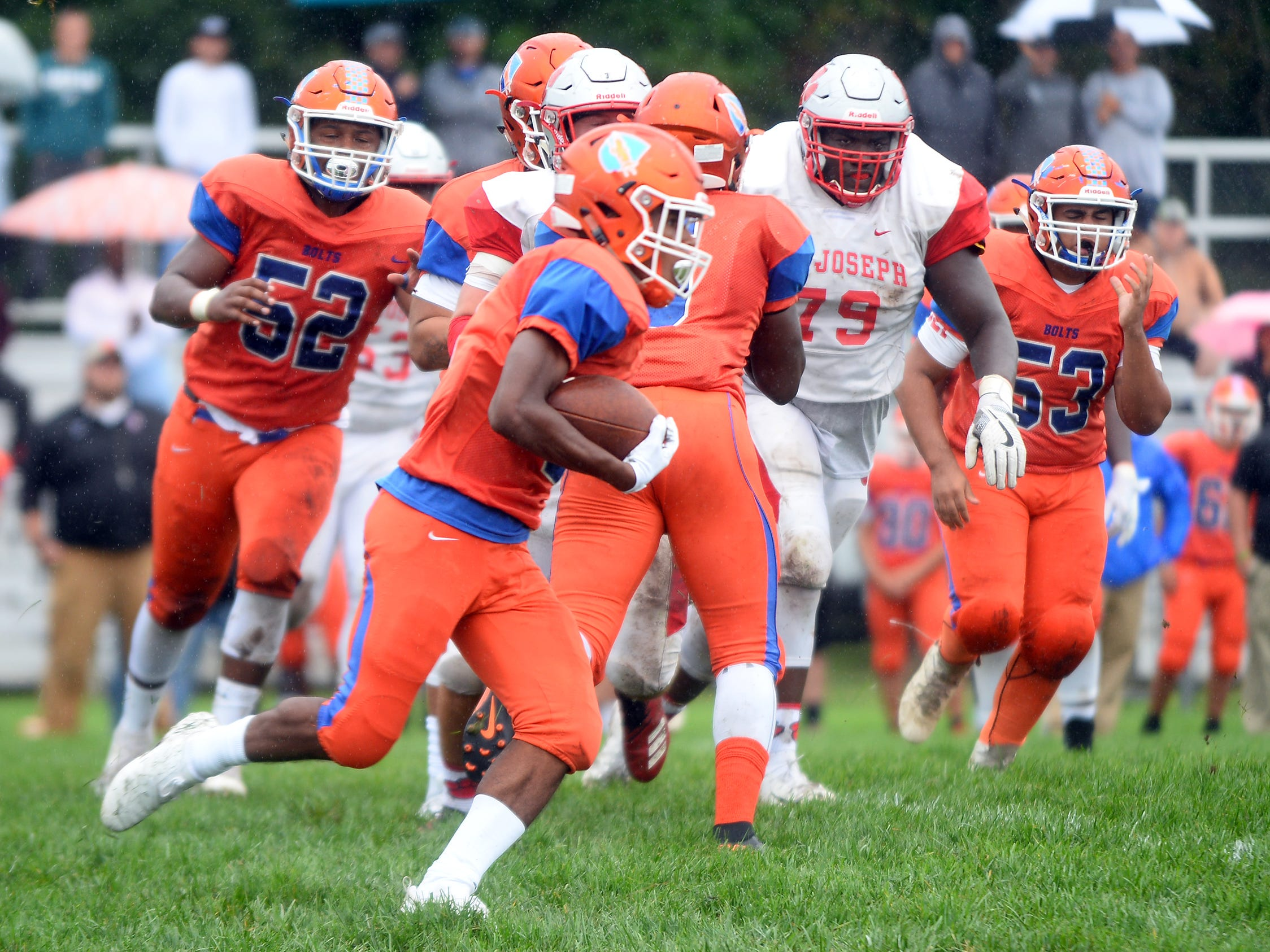 Millville's Cartier Gray (3) runs the ball for a short gain against St. Joseph. The visiting Thunderbolts lost the outing to the Wildcats in Hammonton on Saturday, September 8.