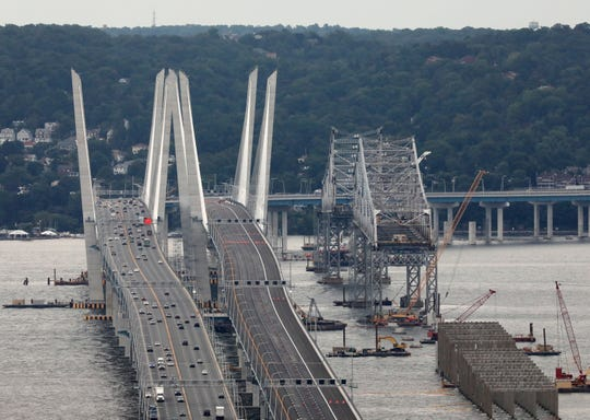 Traffic flows on the northern span of the new Governor Mario M. Cuomo Bridge Sept. 8, 2018, after overnight plans to open the southern span were thwarted after concerns that the old Tappan Zee Bridge became unstable.
