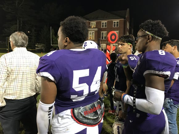 New Rochelle's Jordan Forrest (8) looks on during a 41-0 win over Scarsdale at Dean Field.