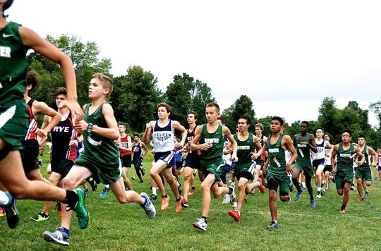 Brewster (in green) and other teams take off at beginning of Big Red D-2 boys race