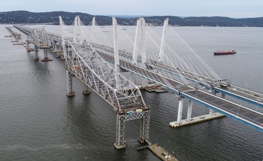Tappan Zee Bridge, front, was deemed structurally unsound for over-night lane switch to the eastbound lanes of the Gov. Mario M. Cuomo Bridge.  Saturday, September 8, 2018.