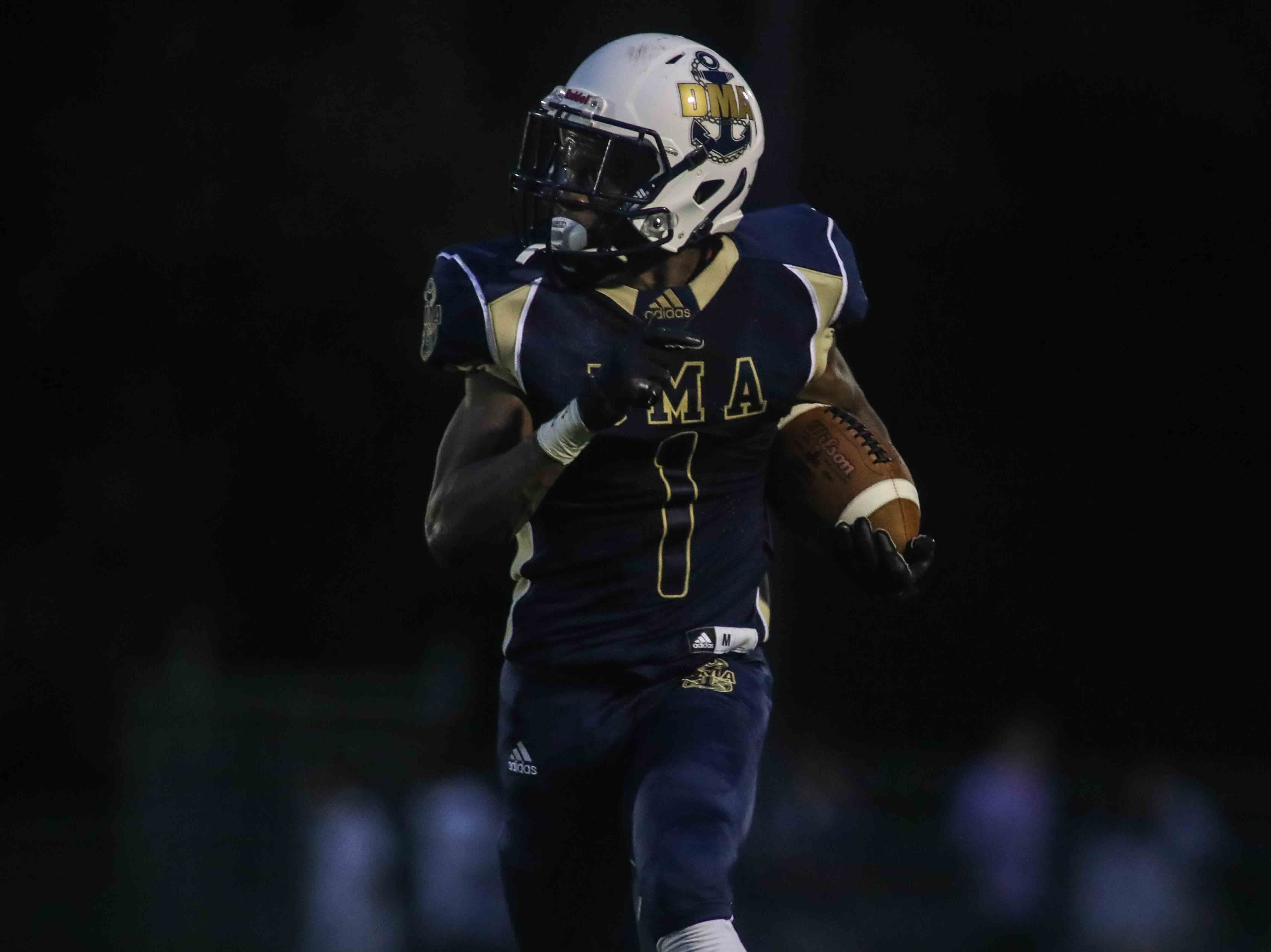 Delaware Military Academy running back Corahn Alleyne (1) rushes for a touchdown in the first quarter of a week one DIAA game between Delaware Military Academy and Charter School of Wilmington, Friday, Sept. 07, 2018 at Baynard Stadium in Wilmington, DE.